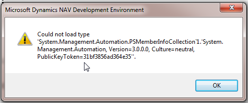 Could not load type 'System.Management.Automation.PSMemberInfoCollection`1.'System.Management.Automation, Version=3.0.0.0, Culture=neutral, PublicKeyToken=31bf3856ad364e35''.